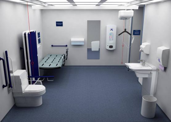 A full sized Changing Places toilet. Photo shows a toilet, privacy screen, adult sized changing table, paper dispenser, full length mirror, a ceiling hoist and a height adjustable basin. The toilet and basin are white, the bench is grey with silver rails, the screen and grab rails are dark blue. The walls are pale coloured and the floor is blue. There is ample space in the room for a wheelchair user and carers.