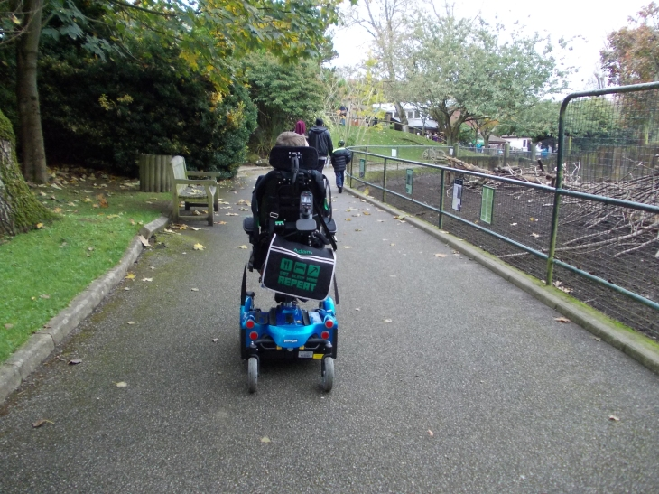 Adam in his blue powered wheelchair. Photo taken from behind as he heads off on his own.