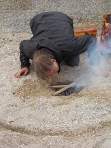Adam was fascinated by Matt lighting the fire.