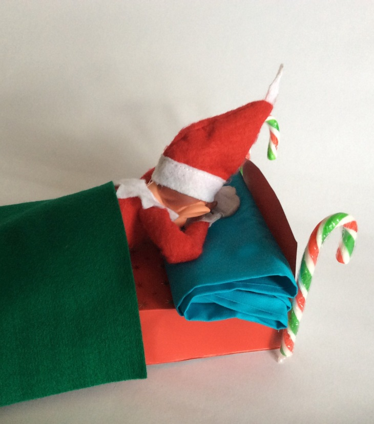 Elf in bed, face down, head in hands. Very sad.