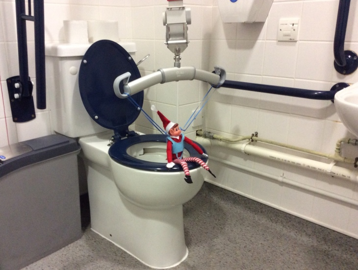 Toy Elf, using a ceiling hoist to sit on the toilet.