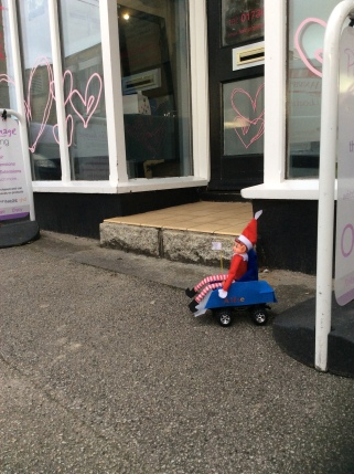 Toy Elf in powered wheelchair unable to access a hairdresser's due to a large step.