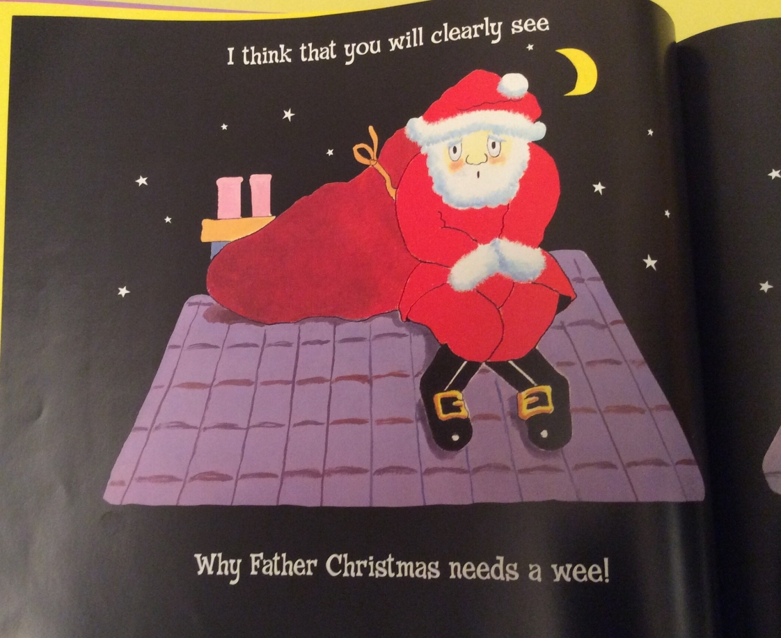 Santa, sat on a roof, looking uncomfortable with the words