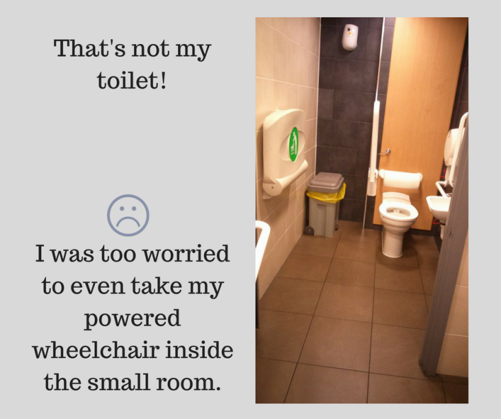 Text says, That's not my toilet! I was too worried to even take my powered wheelchair inside the small room. Photo shows a small room with a toilet, basin, bin and fold down baby changing table.