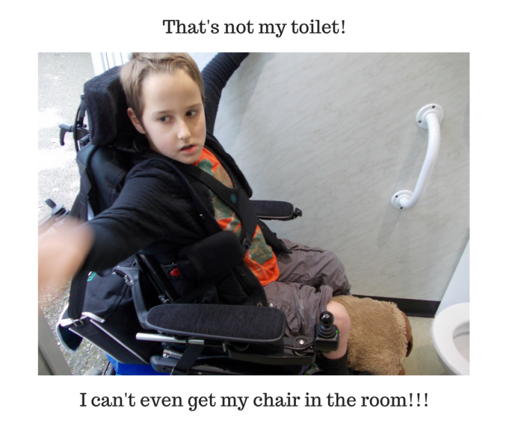 Boy using a powered wheelchair is unable to get it in the disabled toilet. Texts says, That's not my toilet! I can't even get my chair in the room!!!
