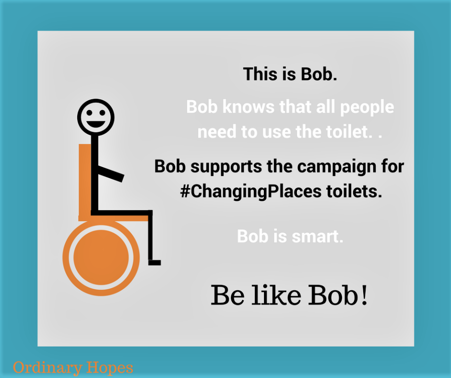 "Stick man character sat on an orange wheelchair. Text says ""This is Bob. Bob knows that all people need to use the toilet. Bob supports the campaign for Changing Places toilets. Bob is smart. Be like Bob!"