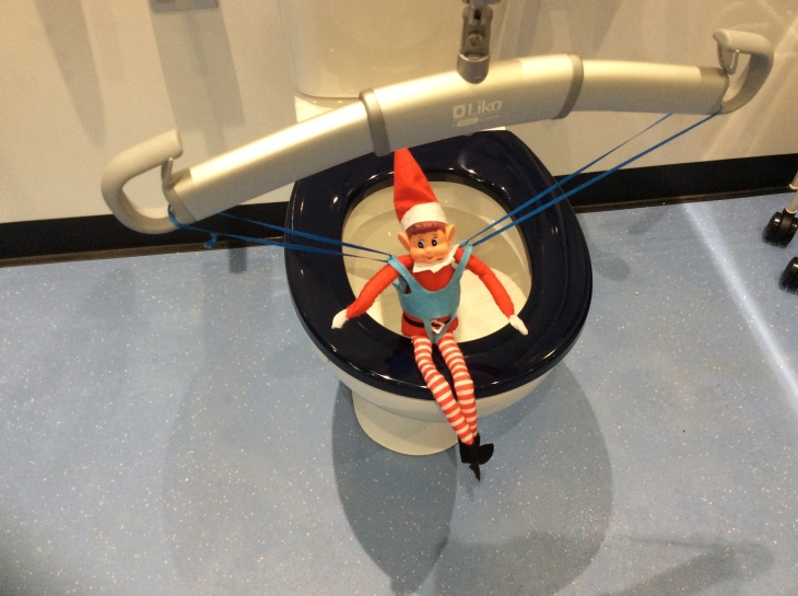 Toy Elf sat on the toilet, thanks to the support of the ceiling hoist.